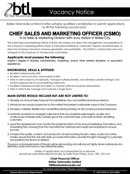 Vacancy - CHIEF SALES AND MARKETING OFFICER (CSMO)half pg